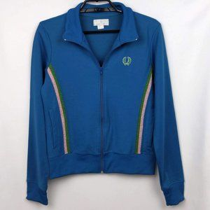 Fred Perry Sz 10 US Teal Blue Zip Up Track Jacket